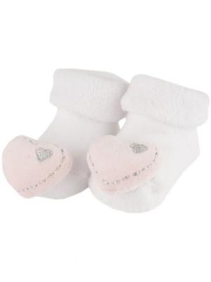 BamBam Sock Rattle Heart Pink